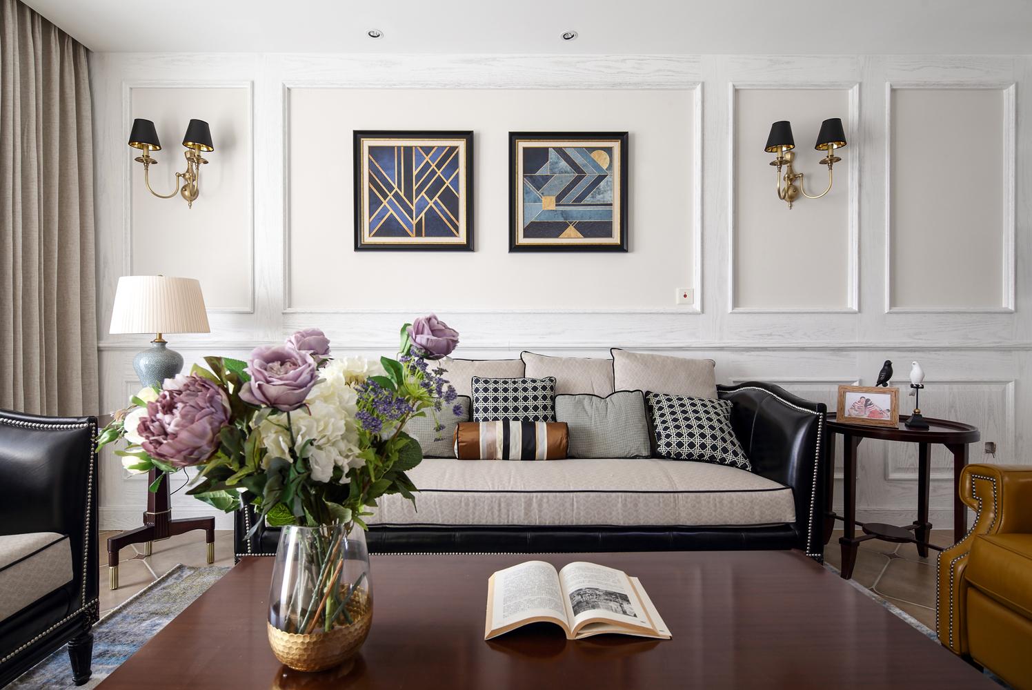 四居室现代美式空间沙发背景墙图片