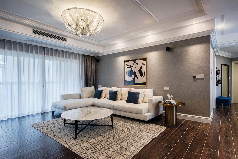 四居室现代美式家沙发背景墙图片