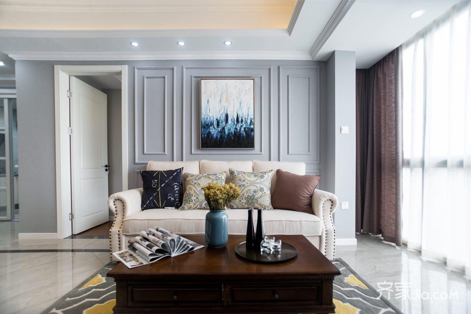 89平美式三居室沙发背景墙装修效果图