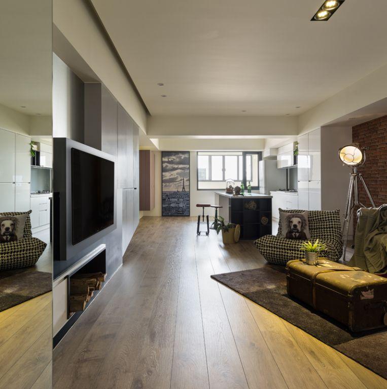 创意休闲美式客厅过道效果图