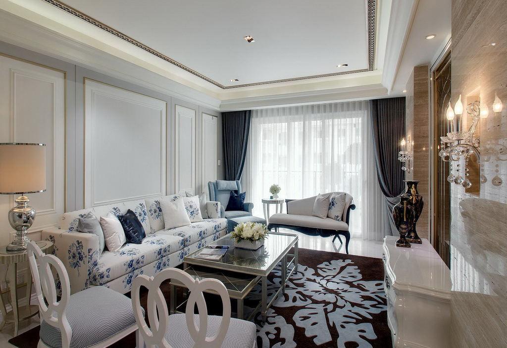 高雅和谐新古典别墅客厅装修美图欣赏
