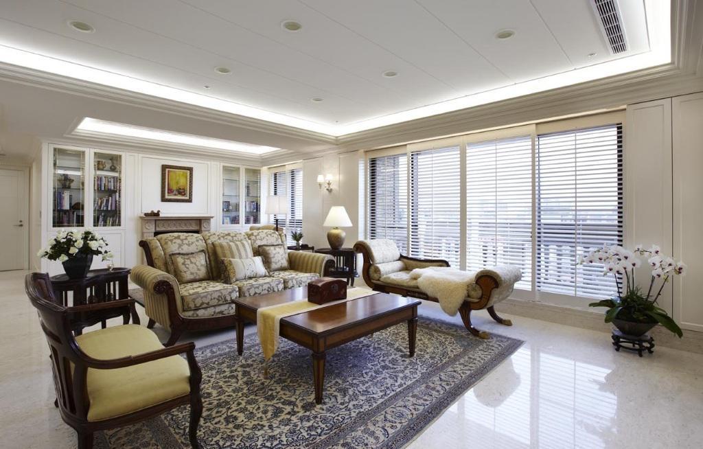 古典美式风格家装客厅室内设计装潢效果图