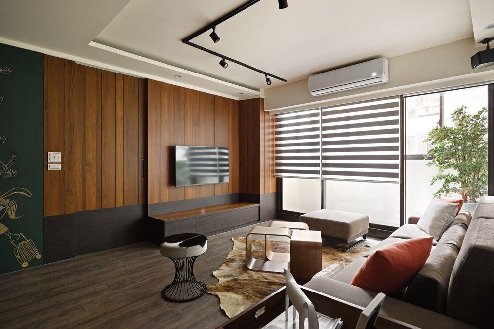 休闲新中式客厅 木质背景墙设计