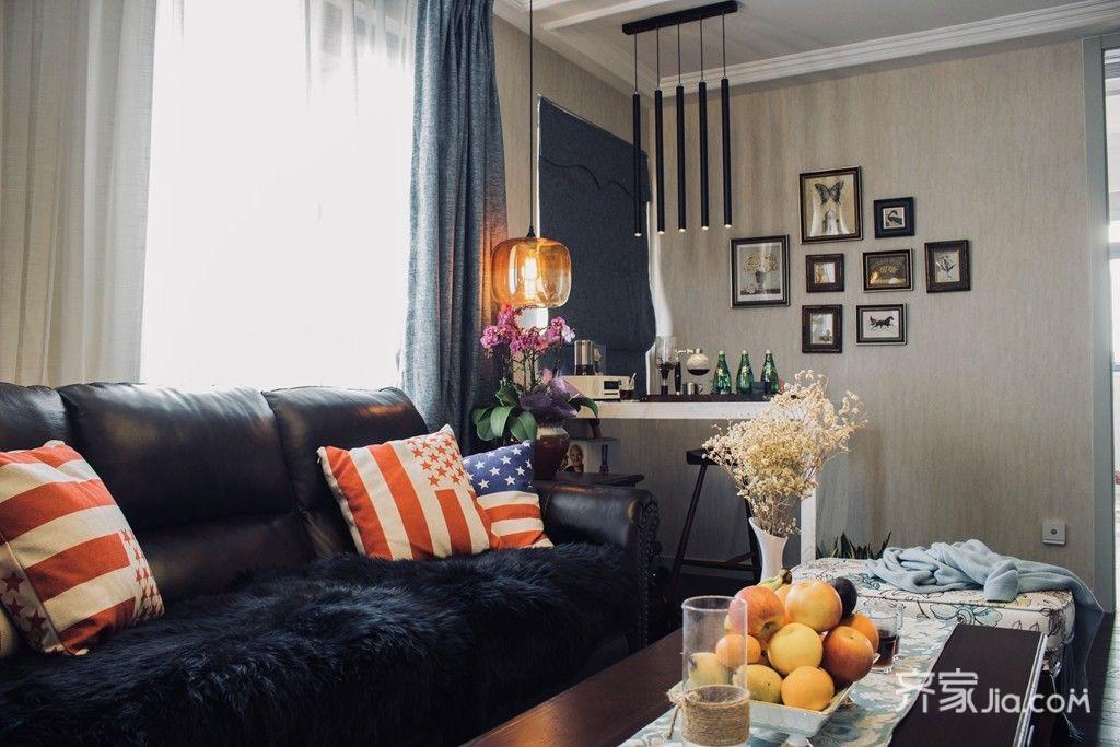 90㎡美式风格二居装修客厅布局图
