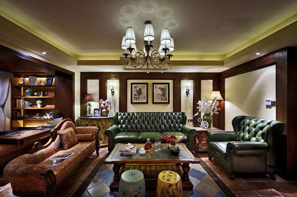 复古东南亚风情混搭客厅沙发背景墙效果图