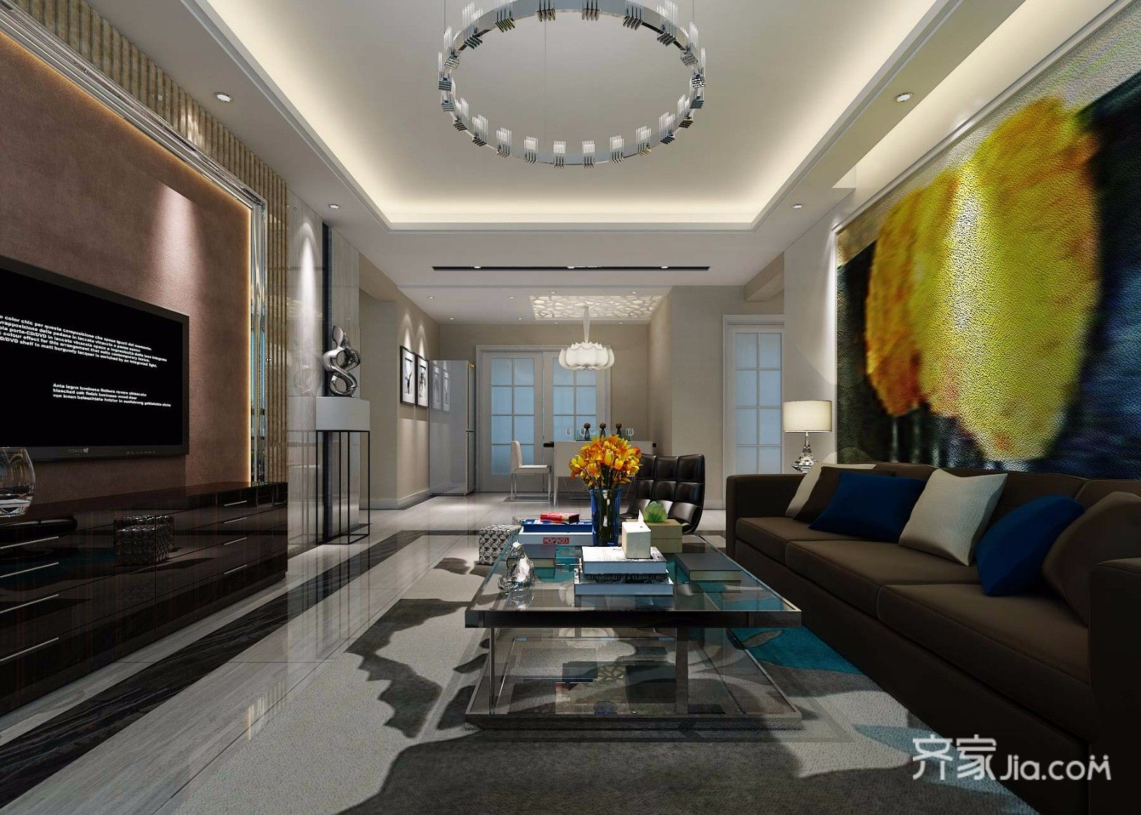 130平现代简约风格客厅装修效果图