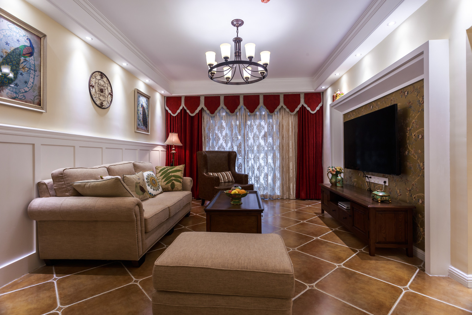 110平美式装修客厅效果图
