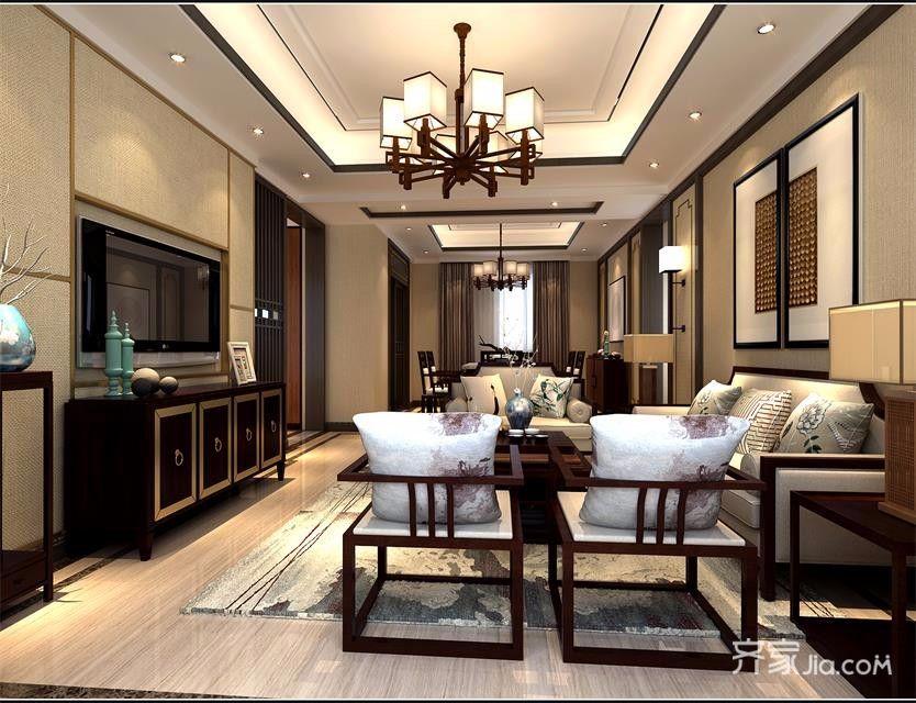 120平中式风格三居客厅装修效果图