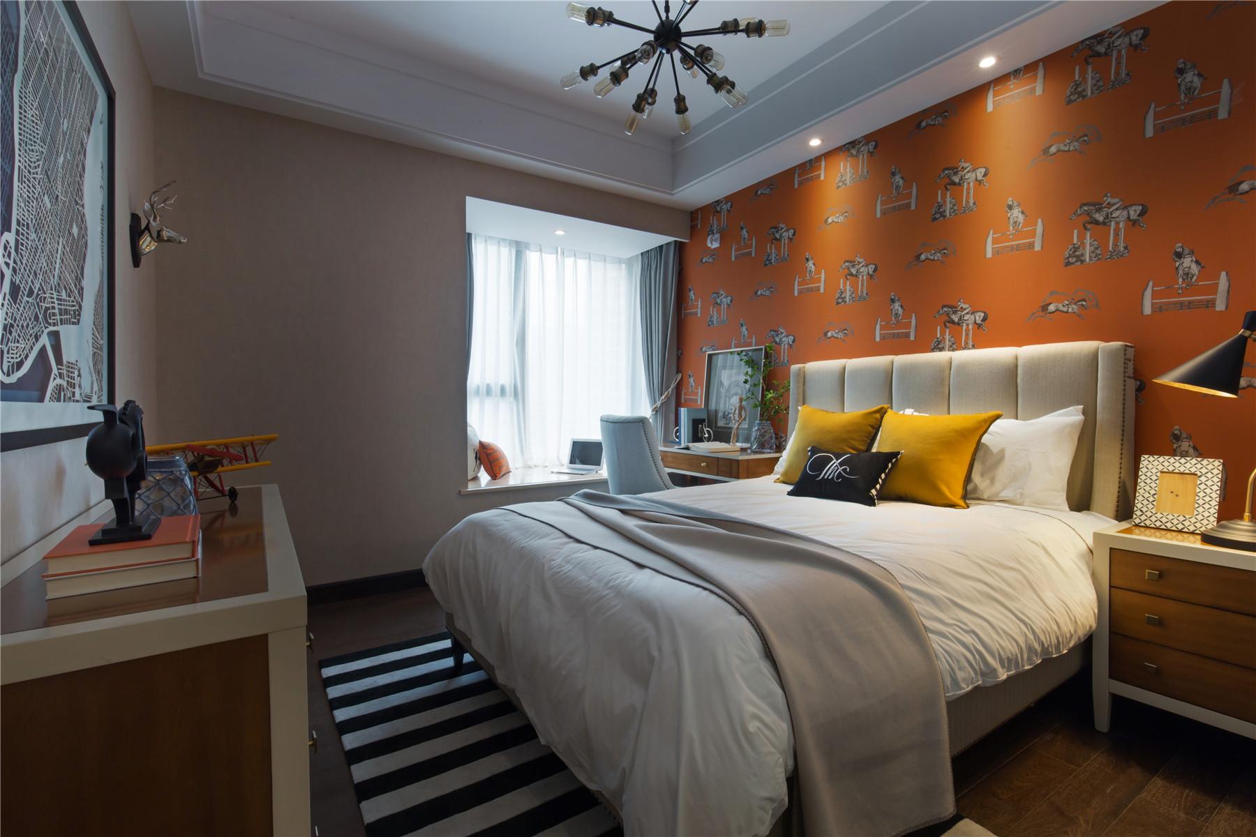 120平混搭风格家卧室背景墙图片