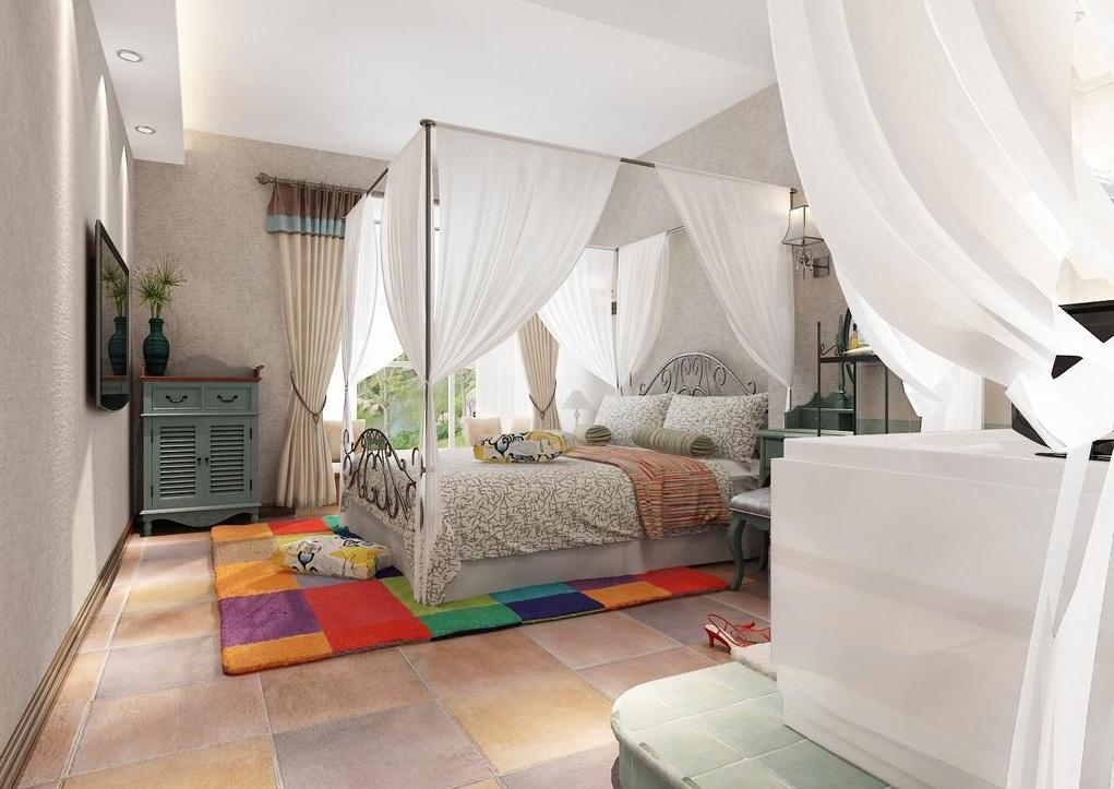 淳朴美式乡村风格卧室白色帷幔装饰效果图片