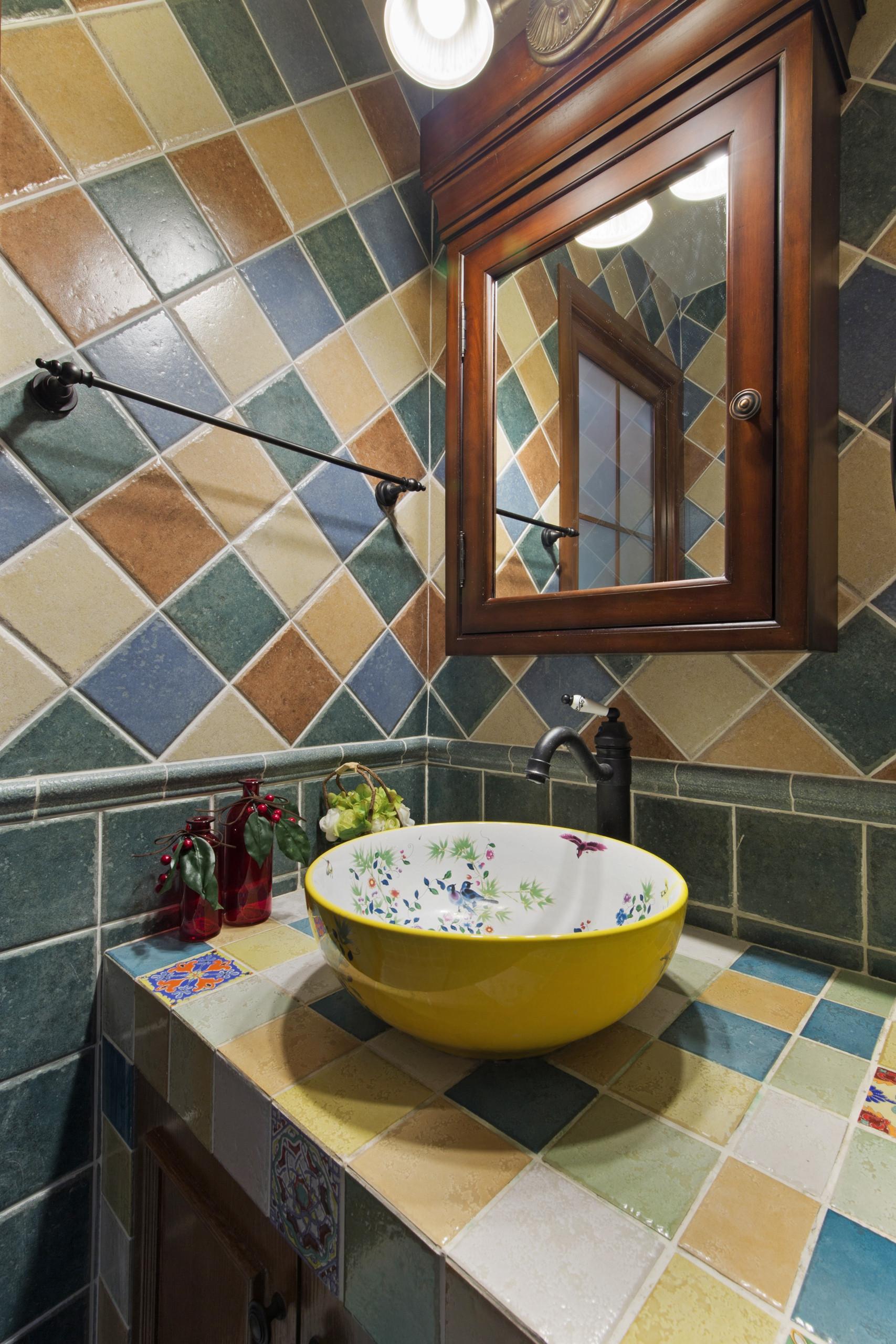 大户型美式乡村家洗手台图片