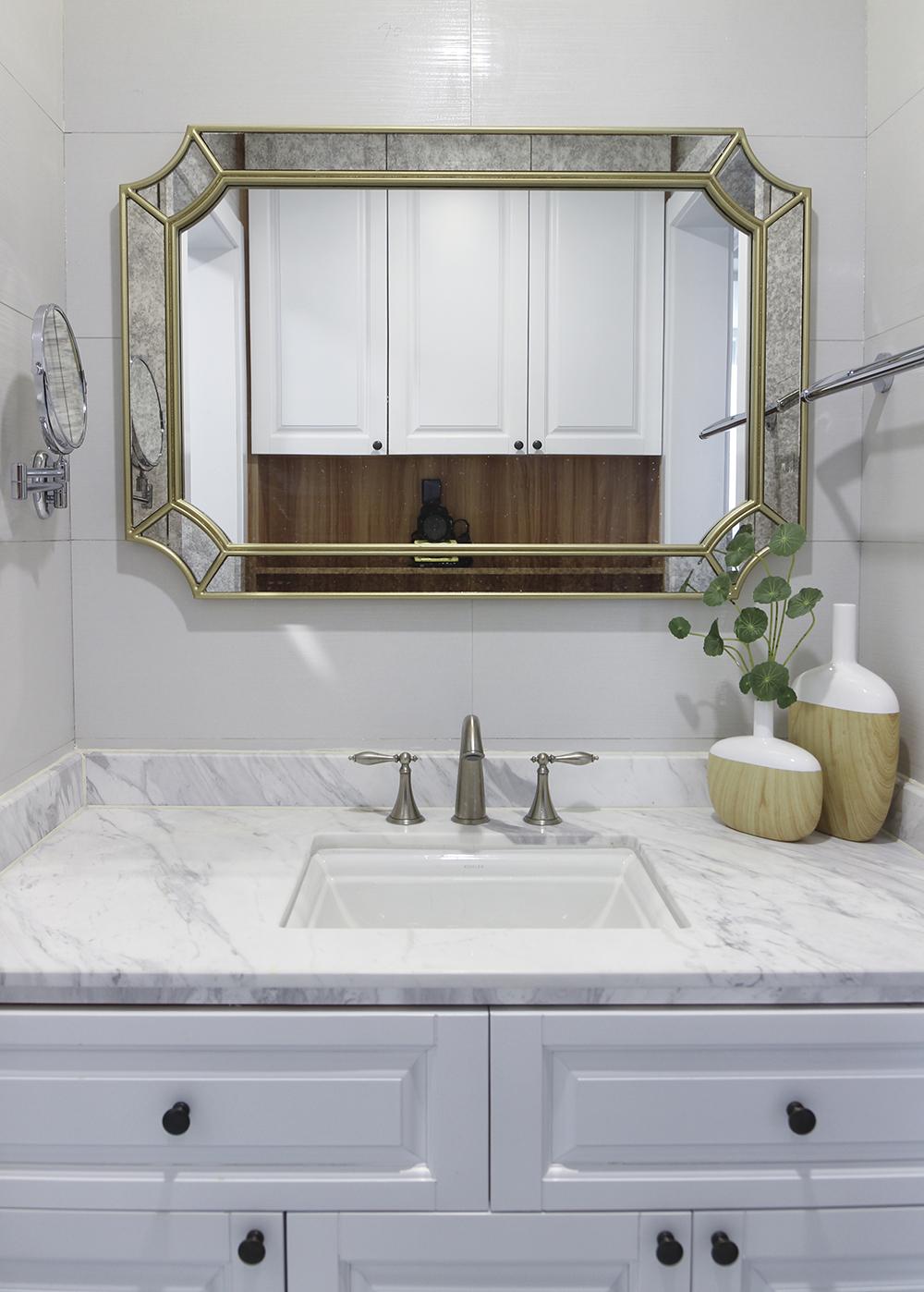 125平美式风格家洗手台图片