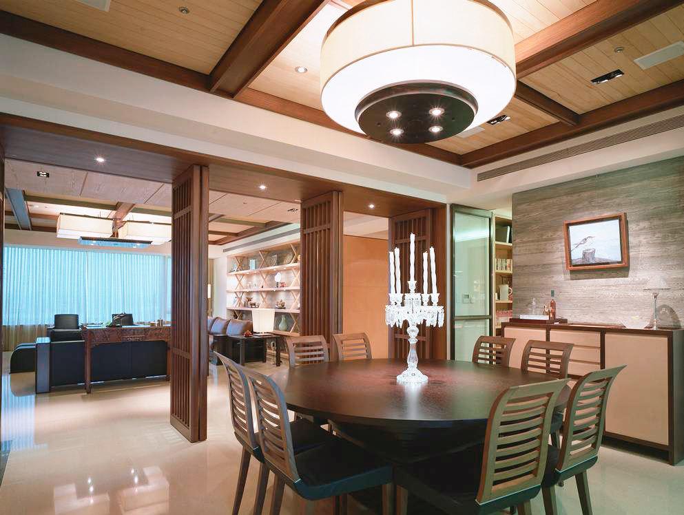 温馨优雅禅意新中式餐厅厨房隔断设计