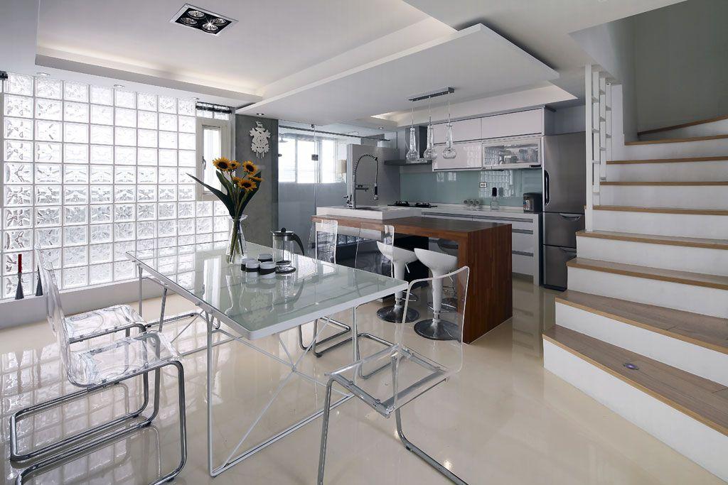 现代简约小别墅餐厨房效果图