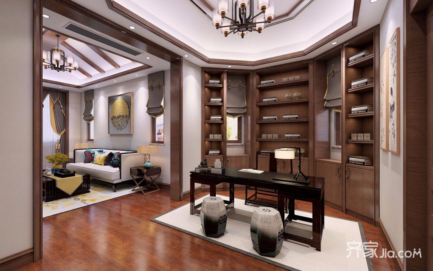300平中式风格别墅书房装修效果图