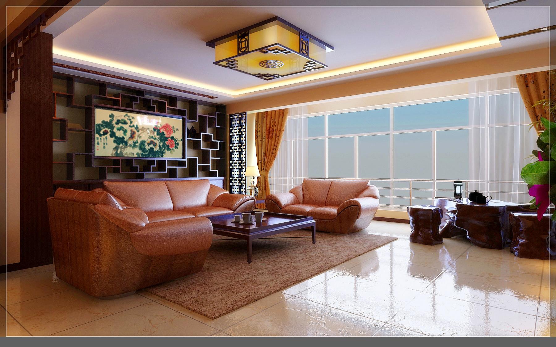 大户型中式风装修沙发背景墙图片