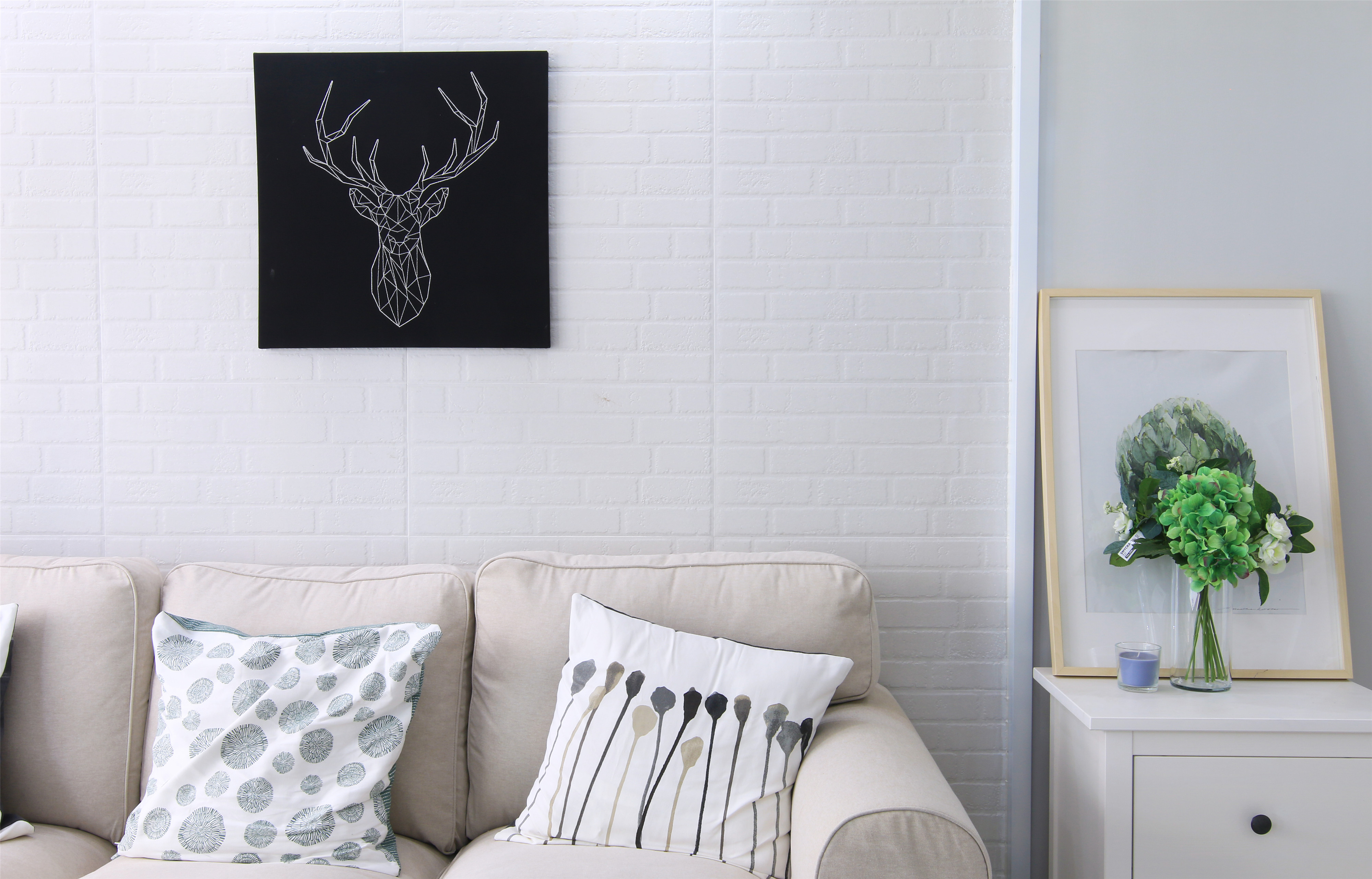 80平米北欧风沙发背景墙装修效果图