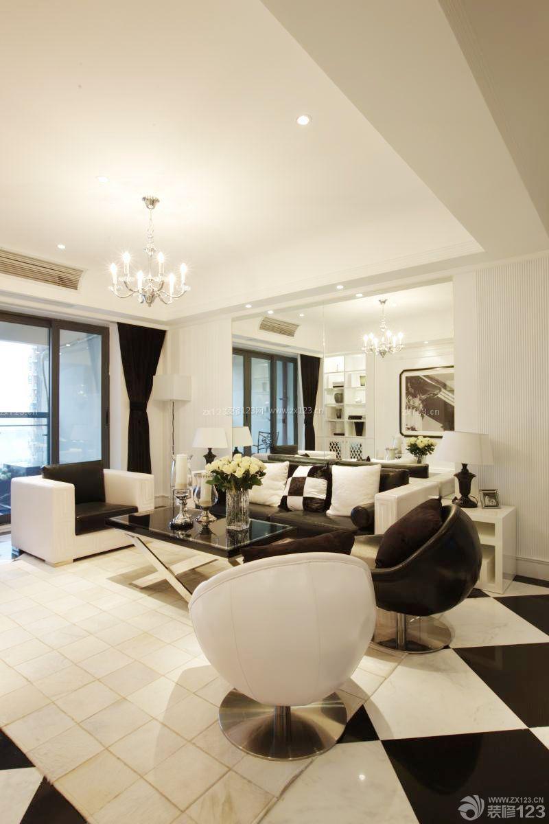 时尚个性三室两厅装修样板间白色地砖设计