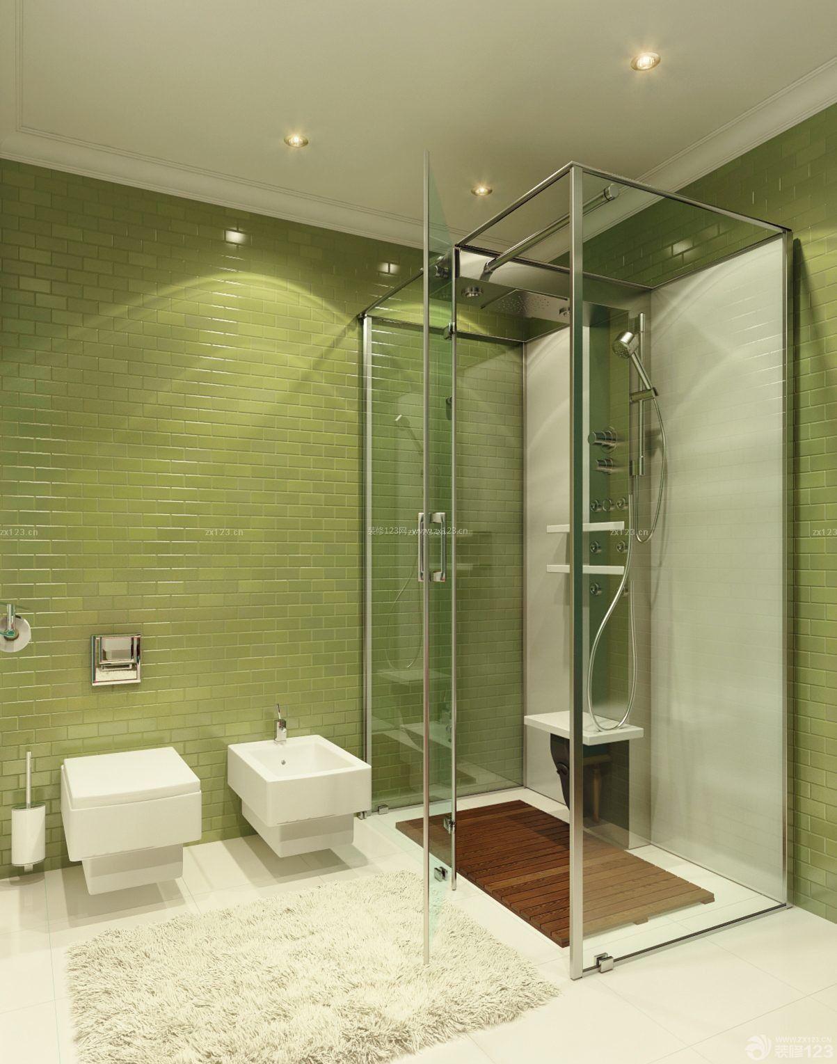 最新家居浴室不锈钢玻璃门设计图片