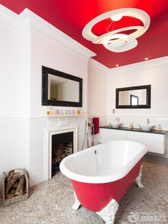 美式家装浴室红色天花板贴图效果图