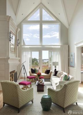 简欧风格200平米房子室内尖顶客厅装修效果图设计