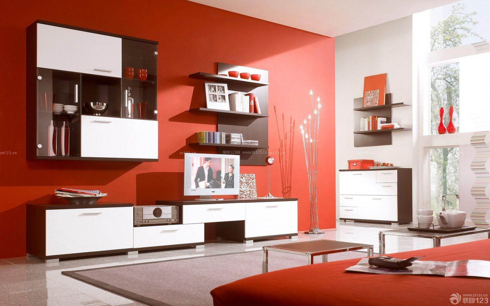 80平米两房两厅红色墙面装修效果图