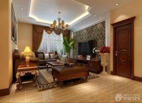 欧式家装设计客厅液晶电视背景墙样板房设计
