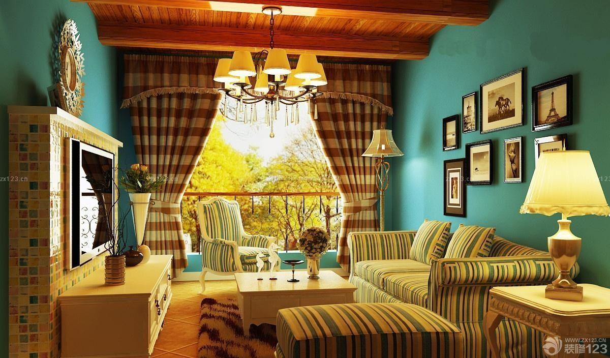 美式乡村混搭120平米房子小客厅装修设计图