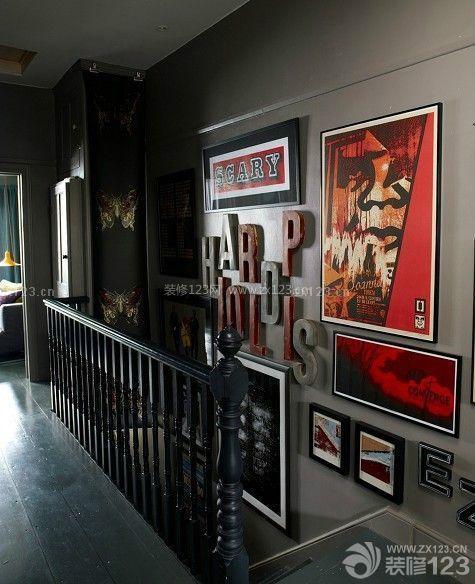 70平米复式楼黑色木地板装修效果图片