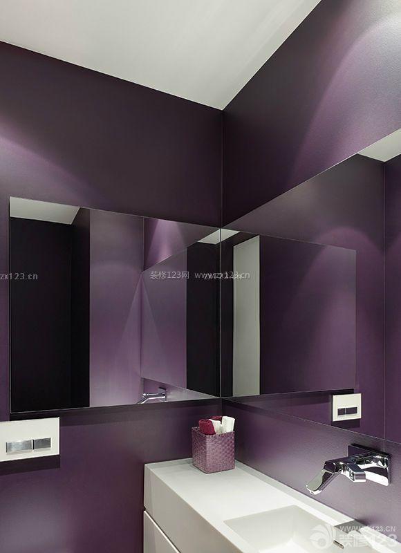 公共卫生间紫色墙面装修效果图片大全