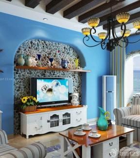 地中海风格家居客厅蓝色墙面装修设计效果图片