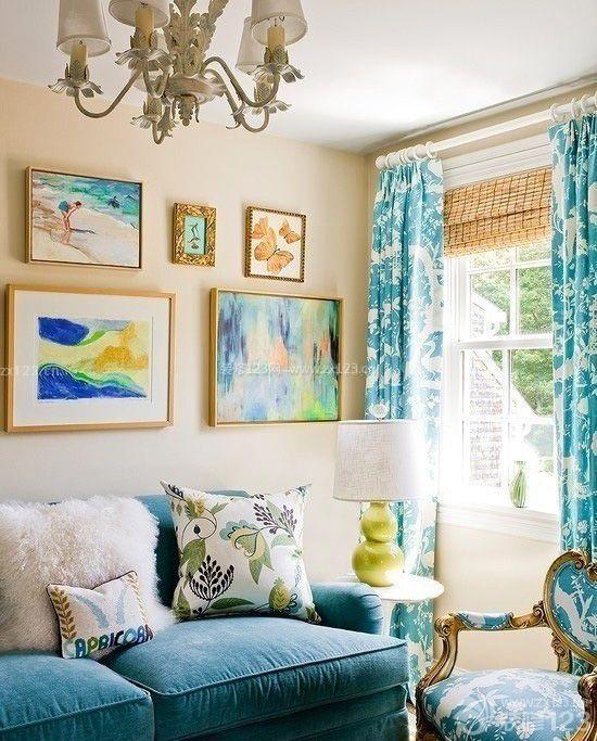 欧式风格蓝色墙面装修样板房效果图片