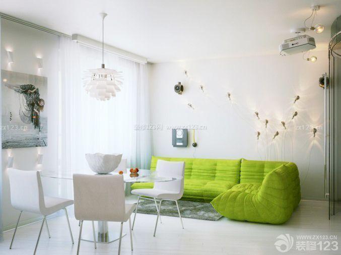 家装现代风格60平方两室一厅客厅装修效果图样板大全