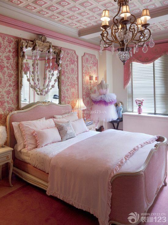 美式90后女生卧室镜子设计效果图片