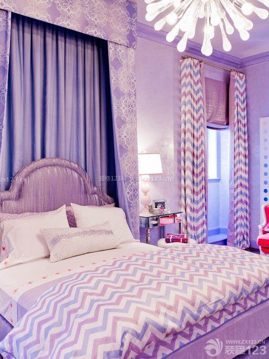 90后女生紫色卧室设计装修效果图片