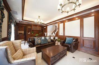 复式美式风格四居装修沙发布置图