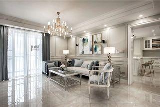 143平轻奢美式风装修沙发背景墙效果图