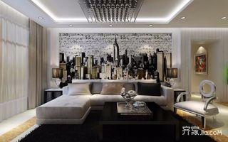 135㎡简约风格三居沙发背景墙装修效果图