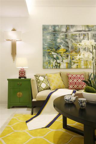 大户型混搭风格四居装修沙发背景墙设计图