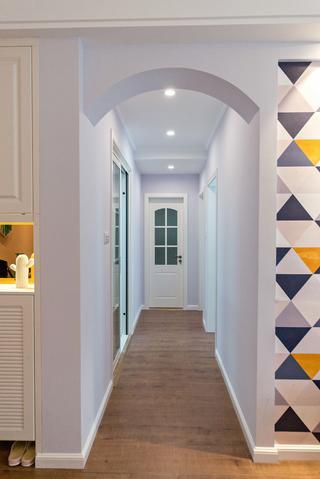 二居室现代美式家拱门过道