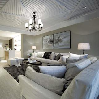三居室现代简约装修吊顶造型图