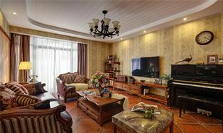 160平美式公寓装修顶面造型图