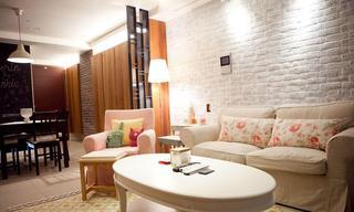 简约宜家三居客厅白色文化砖背景墙装修效果图
