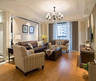 简易美式风格三室客厅沙发装饰案例图