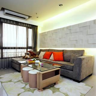现代简约客厅文化砖沙发背景墙效果图