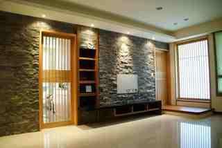 创意日式客厅石材背景墙装饰设计