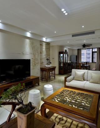 素雅简中式风格客厅手绘墙设计效果图
