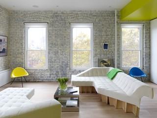 清新式简约风客厅文化砖背景墙设计
