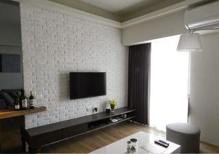 清爽宜家风格客厅白色文化砖电视背景墙装饰