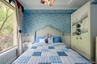 摩登美式四房装修儿童房背景墙图片